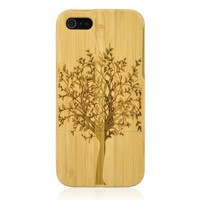 Hand Carved Bamboo Case for iPhone 5 -Tree