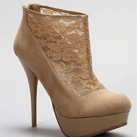 Nude Suede and Lace Booties