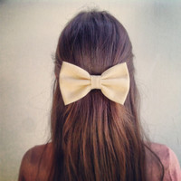 Beige BIG Bow - hair bow (S-N-010)