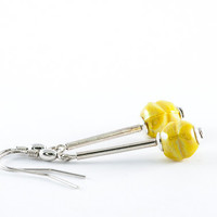 Yellow Beadwork Earrings Murano Glass Spring Jewelry Fashion