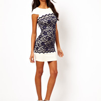 Hybrid Shift Dress with Lace Overlay