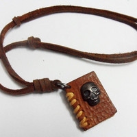 Brown real Leather alloy skull and book pendant by sevenvsxiao
