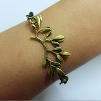 Antique Bronze Leaves Branches Black adjustable by sevenvsxiao