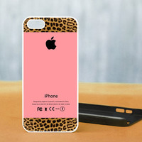 Apple Pink and Leopard Print - Photo on Hard Cover For iPhone 4/4S, iPhone 5 Case, And Select an Option For Colour Choice
