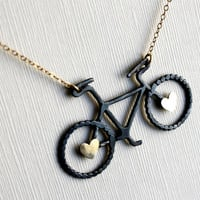 Oxidized Sterling Silver Bike Pendant with Brass Hearts