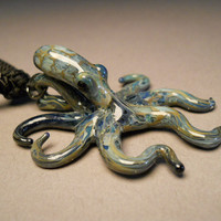 Blue moon Glass Octopus Pendant Choker