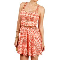 Red/Taupe Tribal Print Spaghetti Strap Sundress