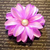 Pretty Purple Pearl Button Lily Flower Hair Clip
