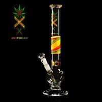 Amsterdam Bubble Base 5mm Glass Tube With Rasta Grip - Glass Bongs - Bongs and Waterpipes - Smoking Pipes - Grasscity.com