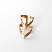 gold chevron ring - 24K gold plated bronze ring -  statement ring