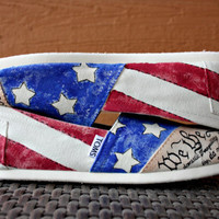Youth - Vintage American Flag with Declaration of Independence and Constitution - Custom Painted TOMS Shoes