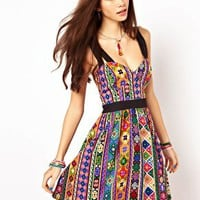 ASOS Sundress In Bright Aztec Print at asos.com