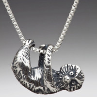 Silver Tree Sloth Charm Necklace FOLLOW MEE!