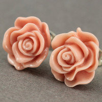 Flower Earrings : Vintage Pink Dusty Rose Flower Stud Earrings, Sterling Silver Plated Earring Posts, Neon, Simple, Fun
