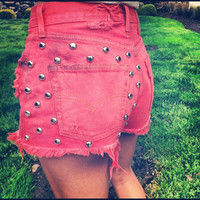 Distressed Studded Acid Washed Shorts