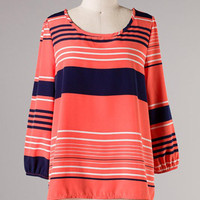 Sea Legs Blouse: Coral [21-T1045-74] - $38.99 : Spotted Moth, Chic and sweet clothing and accessories for women