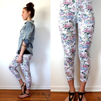 80's 90's Floral Leggings Womens Grunge Stretch Pants