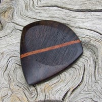 Handmade Premium Wood Guitar Pick - Jazz Stubby - Made with Yucatan Ziricote and African Mahogany