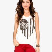 Heart Shaped American Flag Tank | FOREVER 21 - 2035319884