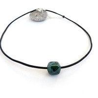 Black leather necklace single green glass cube unisex minimalist rocker ooak