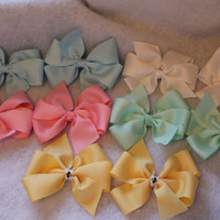 2 Pastel Pin Wheel Bows - Color of your choice