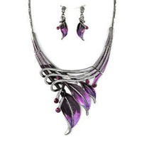 Hand Painted Purple Leaf Necklace and Earrings Set Fashion Jewelry