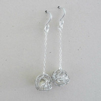 Love knot earrings, Wire ball dangle earrings, Wedding jewelry, Bridesmaid gift