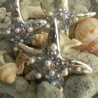 Silver Plated Starfish Necklace With Pearls And Crystals #starfish #necklace