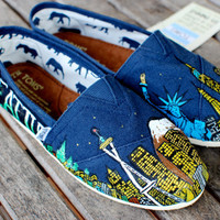 Seattle to New York City skyline hand painted custom TOMS shoes