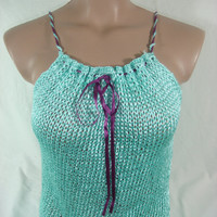 Knitted Top Blouse Mint Spring Summer by Arzu&#x27;s Style