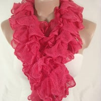 Ruffle Scarf, Frilly Scarf, Knitted Ruffled Scarf (Coral) Gift by Arzu&#x27;s Style