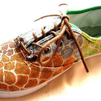 $85.00 custom painted giraffe sneakers multi color by CustomPaintedShoes