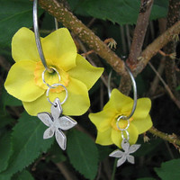 Yellow daffodil flower earrings