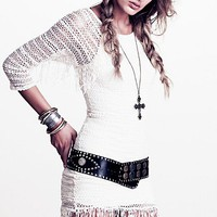 Free People Fringed Crochet Raglan Dress