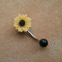 Sunflower Belly Button Jewelry Stud Ring Daisy by Azeetadesigns