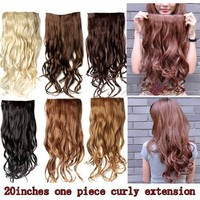 "Better Dealz 20"" 135g Long Curly Clip-on Hair Extension Wigs Chestnut Brown,chocolate Brown,light Blonde,medium Brown,brown,natural Black Si"