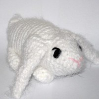 Plush Stuffed Long Eared Lop Bunny Rabbit Pure White with Black Eyes