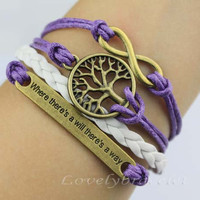 "Purple copper inspirational bracelet infinity bracelets, wishing tree, ""where there is a will there is a way there is a way"""