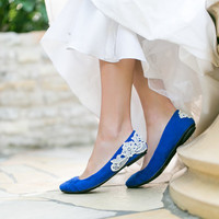 Wedding Shoes - Bridal Ballet Flats, Cobalt Blue Wedding Flats with Ivory Lace. US Size 6.5