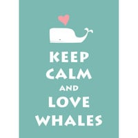 Large 13X19 Keep Calm and Love Whale  Light by simplygiftsonline