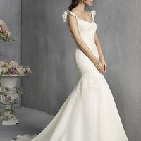 [170.70] Slinky Over Lace & Organza Satin & Satin Frill Strappy Fishtail Wedding Dress With Lace Appliques - Dressilyme.com