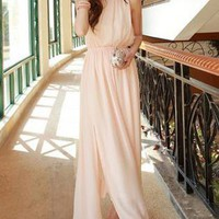 Solid Sleeveless Maxi Chiffon Dress
