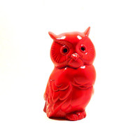 red, owl sculpture, kitschy home decor, upcycled ceramics, vintage owls, kitsch, figurines, retro, 70s, mod