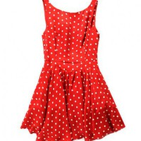 Retro Red Sleeveless Dress with Dot Print and V Back