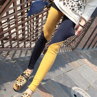 New Womens Color Blocking Black yellow Twill Legging Slim Trousers Tight Pants