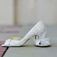 Wedding Shoes - Ivory Bridal Shoes, Ivory Heels with Ivory Lace. US Size 8.5