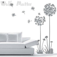 Falling Dandelion Flowers Removable Wall stickers Art Mural Vinyl Decal 7 Colour