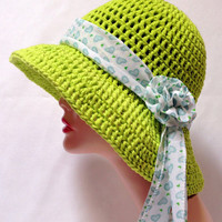 Large Brimmed Cotton Sun Hat. Crochet Beach Hat, Summer Fashion Hat