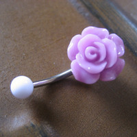 Lavender Rose Belly Button Ring Navel Piercing by Azeetadesigns