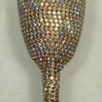 Custom designed handmade wedding flute with multicolor rhinestone elements